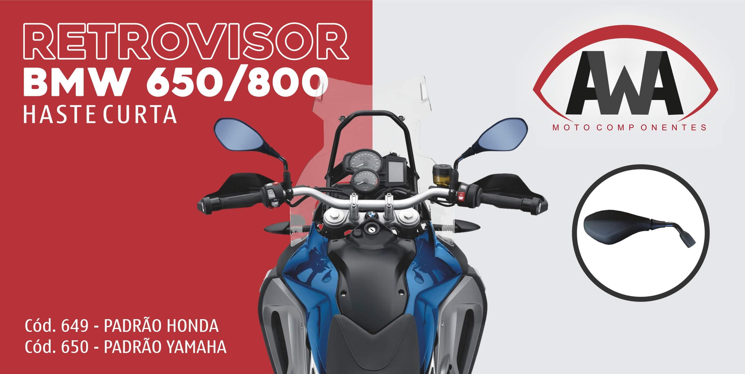 RETROVISOR BMW GS 650/800 HASTE CURTA PADRAO HONDA DIR/ESQ